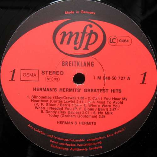 Bild Herman's Hermits - Greatest Hits (LP, Comp, RE) Schallplatten Ankauf