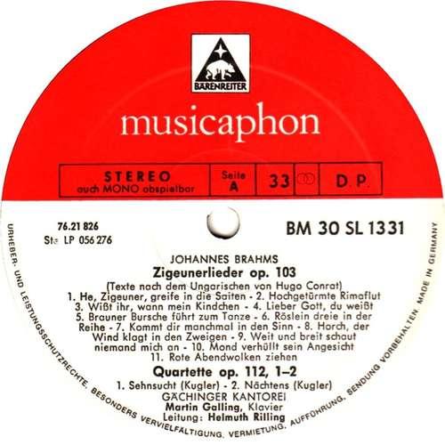 Bild Brahms*, Schumann*, Martin Galling, Helmuth Rilling, Gächinger Kantorei* - Zigeunerlieder (LP) Schallplatten Ankauf