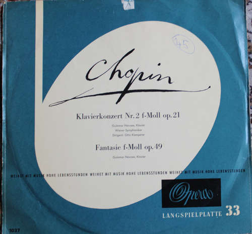 Cover zu Chopin*, Guiomar Novaes, Wiener Symphoniker - Klavier Concert No. 2 F-Moll Op. 21 / Fantasie In F-Moll Op. 49  (LP) Schallplatten Ankauf