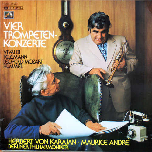 Cover zu Vivaldi*, Telemann*, Leopold Mozart, Hummel* — Herbert von Karajan · Maurice André - Berliner Philharmoniker - Vier Trompeten-Konzerte (LP) Schallplatten Ankauf